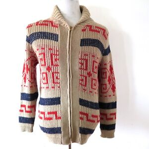 VINTAGE ORIGINAL WOOL SWEATER PENDLETON ZIP UP BIG LEBOWSKY SIZE 36 1960's USA