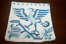Bird Of Medieval Times! Antique German Hand Embroidered Pillow Sham