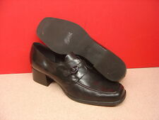 Women's UNISA Black Leather Heels Size 9.5B Made in Brazil
