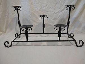 Large Wrought Iron/Metal Ball/Pillar Black Candelabra Holder-Fits 5 Candles