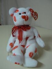 Ty Beanie Baby SMOOCH Plush White Bear with Red Kisses and Red Ribbon
