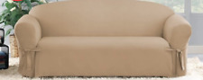 Sure Fit Cotton Duck Sofa Slipcover in Cocoa for Box Style Seat Cushion 1 Piece