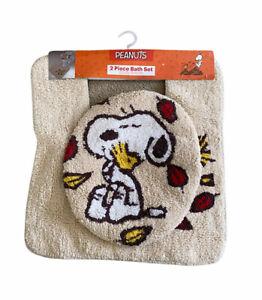 PEANUTS Fall 2 Piece Bath Set Snoopy & Woodstock Lid Cover Rug NEW w/ Tags