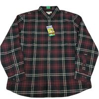 Orvis Mens Button Front Shirt Heritage Twill Plaid Long Sleeve Red Black XL XXL