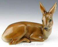 Vintage Heubach Porcelain Figurine FAWN LYING DEER FOREST ANIMAL Mint