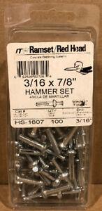 "(BOX OF 100) Ramset Red Head HS-1607 Hammer Set Concrete Anchor 3/16 X 7/8"""