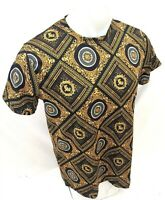 Mens PRESTIGIOUS SHORT Sleeve BLACK GOLD MEDUSA HEAD SILKY Shirt LEAF 101 NEW