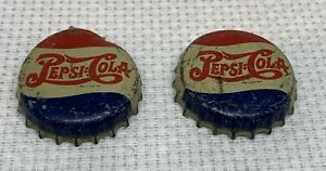 Lot of 2 Vintage 1940s Pepsi Bottle Caps with Eagle Miltary under cap