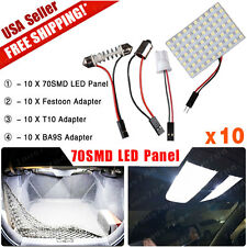 10X Festoon T10 BA9S Adapter Panel 70-SMD White Trailer Camper Interior Light