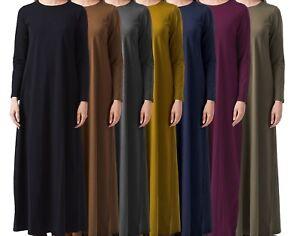 UK - WOMENS MAXI ABAYA DRESS CASUAL HIGH QUALITY PLAIN LONG JERSEY MULTI COLOURS