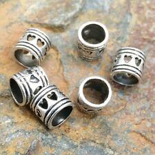 6 x 4.5mm Hole Pierced Heart Dreadlock or Beard Beads. Dreads, Locs,