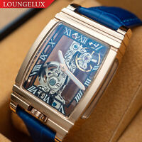 Mens Rose Gold Bridge Manual Mechanical Watch - Blue Leather DIASTERIA 1688B
