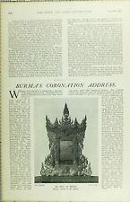 1902 Imprimé BURMA'S Couronnement Adresse An Epic en Bois To His Majesty
