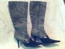 "Italy Bruno Magli Vero Zebra Calf or Pony Hair 8.5 39 Buckle 4"" Heel Point Boots"