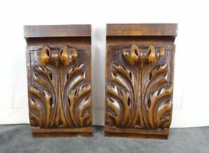 """5.1"""" Pair of French Antique Hand Carved  Walnut Wood Corbels Salvage Trim"""