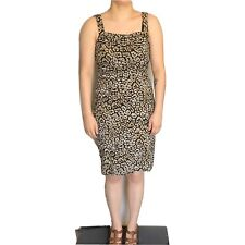 Ann Taylor Dress Size 4 Leopard Print Sheath  Brown Sleeveless Cowl Neck Drape