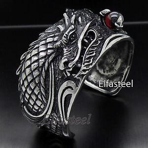 Huge Men Dragon Lord Cubic Zirconia Stainless Steel Bangle Cuff Bracelet