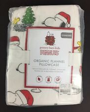 POTTERY BARN KIDS PEANUTS FLANNEL HOLIDAY PILLOWCASE SNOOPY CHRISTMAS NEW TREE