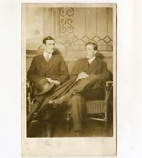 Early 1900s Real Photo Postcard of 2 Handsome Men / Gay Interest