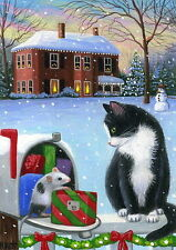 Tuxedo kitten cat mouse Christmas mailbox house limited edition aceo print art