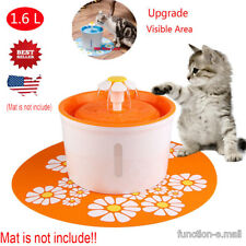 New Listing1.6L Cat Dog Automatic Water Drinking Round Fountain Bowl Dish Filter Orange Us