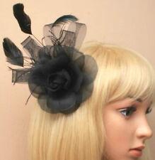 Noir en plumes rose Bec Clip à Mesdames jour mariages funéraire royal Ascot