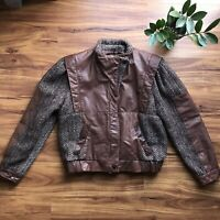 Vintage Winlit Leather and Wool Boucle Bomber Flight Jacket Coat Women's Small