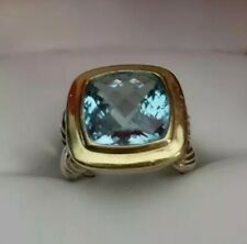 11 x 11 David Yurman 18K Gold & Silver Blue Topaz Cable Ring Band Size 6.25