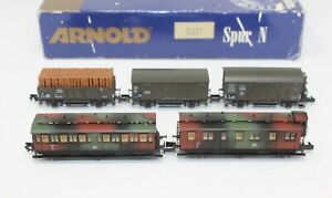 N Scale Arnold 0327 DR Military Camouflage 5 Car Set (2 Passenger, 3 Freight)