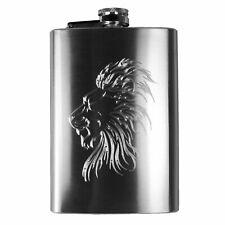 8oz Lion Hip Flask R1
