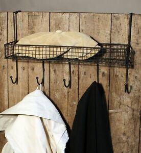 Mesh Over Door Shelf With 5 Hooks Black Metal Wire Basket Storage Rack