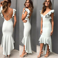 Evening Dresses Long Mermaid Elegant V-neck Bodycon Fishtail Formal Party Dress