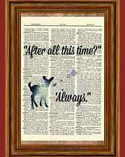 Harry Potter Dictionary Art Print Snape After All this Time Always Quote Deer