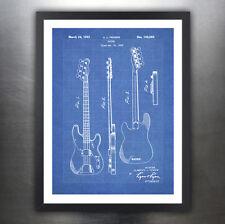 "FENDER 1951 BASS GUITAR POSTER Blueprint Patent Print 18x24"" Vintage (unframed)"