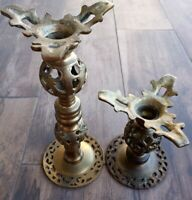 "Vintage Antique Brass Ornate Gothic Candlestick Holders  9"" 5"""