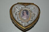 Vintage Ornate Small 1960s Metal Heart Shaped Jewelry Trinket Box Rare JAPAN