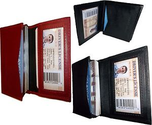 Lot of 3 women men's Leather Business Credit Card ID card case 1 Red and 2 Black