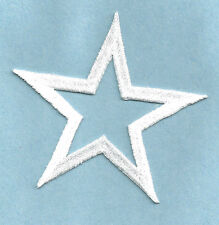 "( SET OF FOUR - 4 )STARS OPEN 2 5/8"" WHITE EMBROIDERED IRON ON PATCHES"