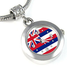Hawaii US State Flag Silver European Spacer Charm Bead Watch For Bracelet EBA428