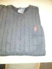 RALPH LAUREN MENS CABLE KNITWEAR GREY 2-X-LARGE SLIM FIT