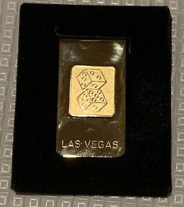 NEW VINTAGE GOLD FINISH LAS VEGAS DICE MONEY CLIP Original Box Engraved Susan !