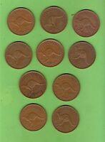TEN  1951  AUSTRALIAN KANGAROO DESIGN  PENNY  COINS