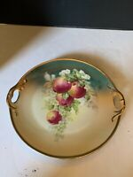 Antique Three Crown China Germany Apple Fruit Reticulated Handle Plate