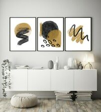 Set of 3 Dalia Gold Chalk Black Abstract Home Poster Print Black Decor Wall Art