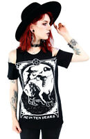 Restyle Me in Ten Years Cold Shoulder Witch Satanic Emo Gothic Punk Top T Shirt