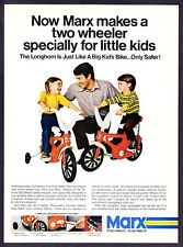 """1973 Marx Longhorn Two-Wheeler Bicycle photo """"For Little Kids"""" vintage print ad"""