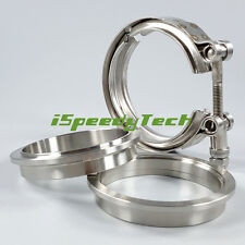 """2.5"""" Inch V Band Clamp Flange Kit Male+Female 64mm Stainless Steel Universal New"""