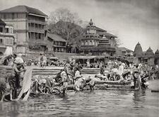 1928 Vintage INDIA Nashik Bathing Place Sacred Godaveri River Photo By HURLIMANN