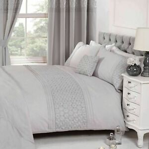 Silver Grey EVERDEAN Embroidered Classic Duvet Quilt Cover Set Bedding Single