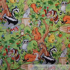 BonEful Fabric Cotton Quilt Green Tree Bee Hive Animal Skunk Turkey  LAST SCRAP